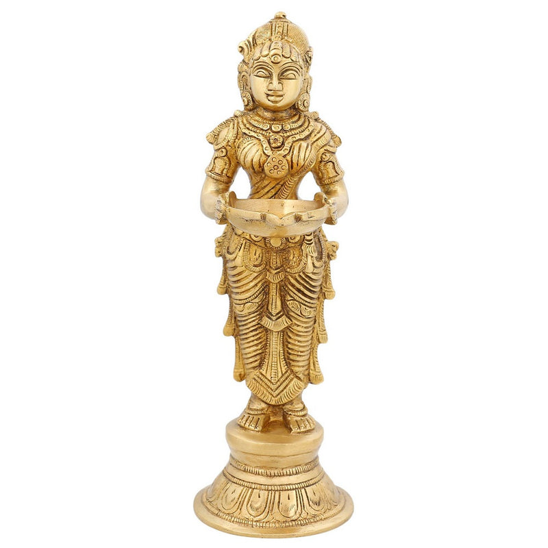 Indian Art Work Brass Lamp Deva Kanya From Hindu Mythology Holding A Diya 9 inch