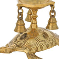 Hindu Diya Lamp and Bells Atop Turtle Brass Metal Sculpture Figurine