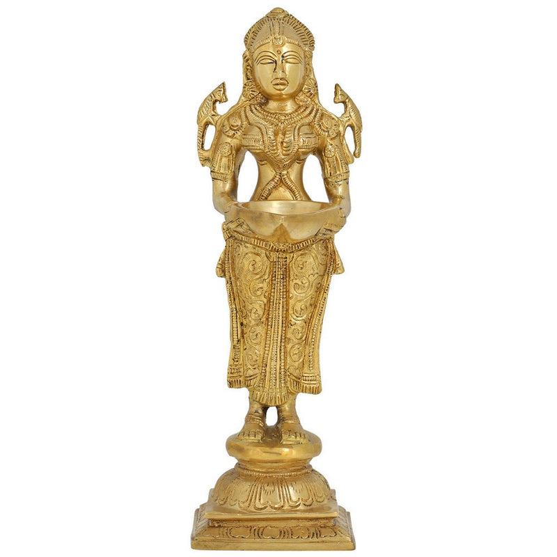 Indian Lady Holding Wick Lamp Diya Puja Item Figurines Sculptures Hinduism 11 Inch 1.8 kg