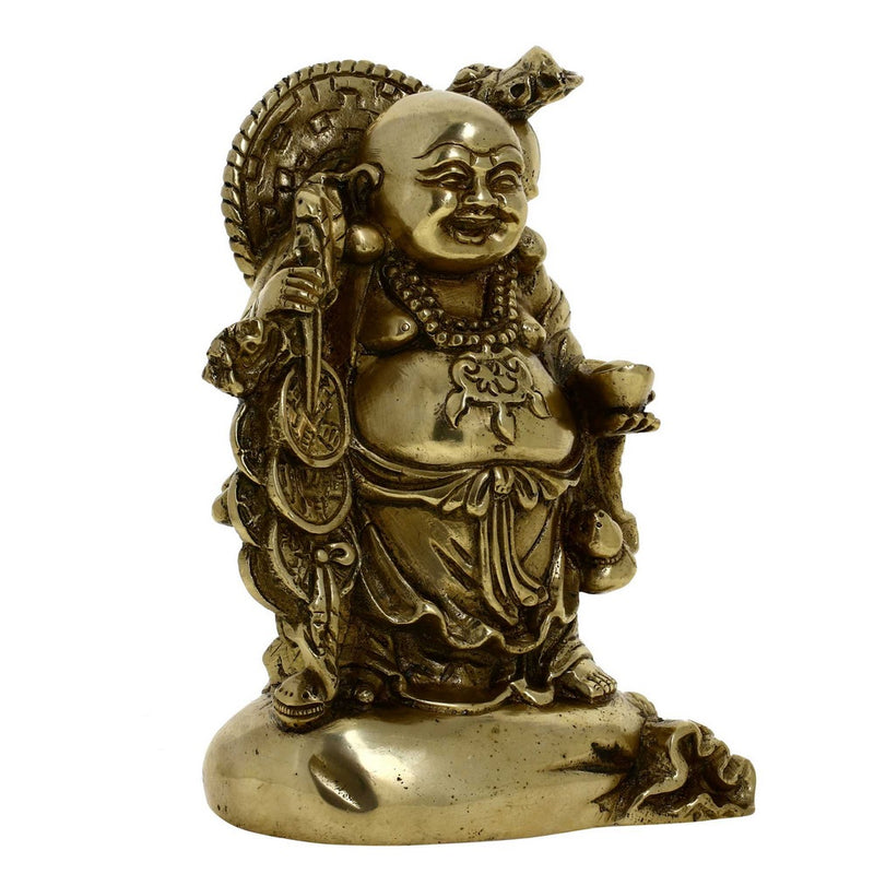 Buddhist Art Metal Brass Laughing Smiling Buddha Statue Height 6 Inches