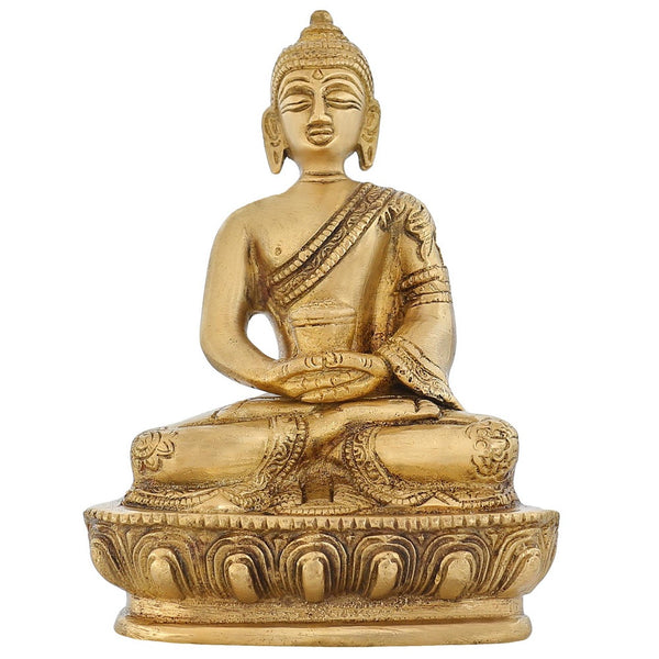Meditation Buddha Buddhist Art Indian Oriental Décor 5 inch Brass Sculpture