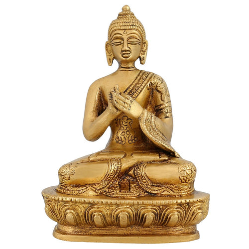 Buddha Statue Sitting Buddhist Décor Sculpture For Home Indian Handmade 5 Inch 800 Gram