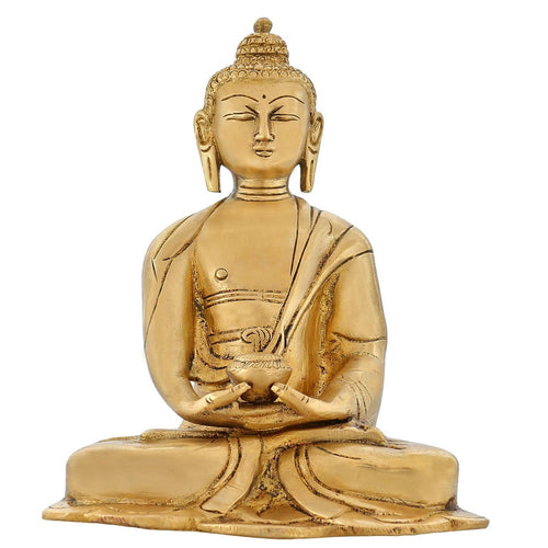 Indian Art Religious Gifts Buddha Figurine Sculpture For Home Brass Idol 6 Inch