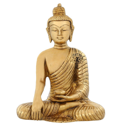 Religious Sculpture Buddhism Décor Earth Touching Buddha Brass Idol 6 Inch 1.2 Kg