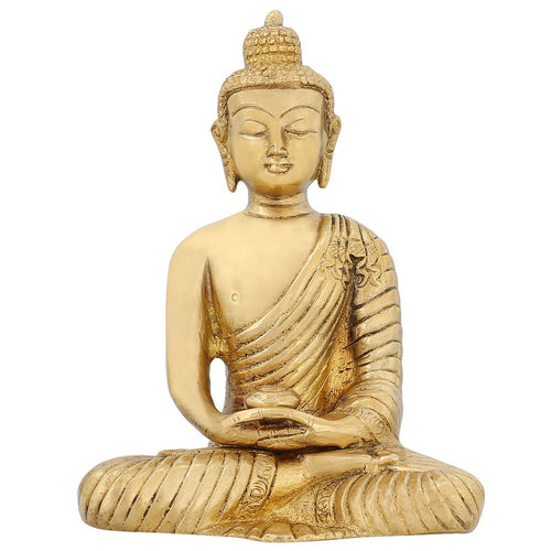 Buddhist Art Brass Statue Meditation Buddha For Peace And Calm Home Décor 6 inch