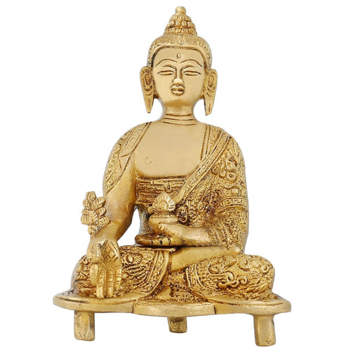 Buddhist Gifts Seated Medicine Buddha Statue Indian Home Decorations 5.5 inch 750 Gram