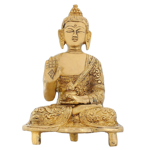 Indian Art And Crafts Brass Sculpture Shakyamuni Buddha Religious Gifts 5.5 inch