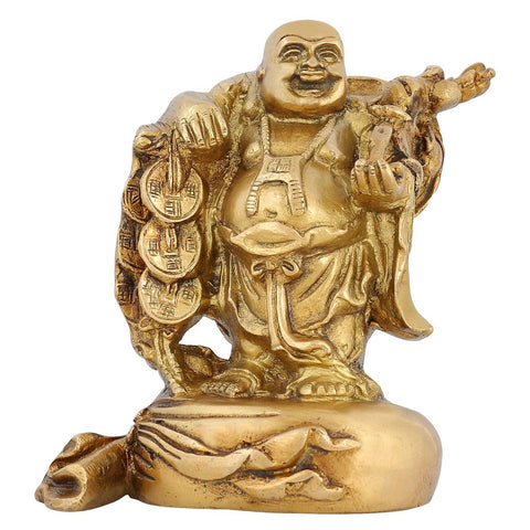 Buddhism Home Decoration Indian Art Happy Buddha Statue Brass 6 inch