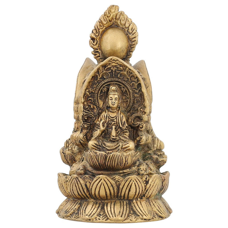Religious Brass Metal Art Lord Buddha In Vitarka Mudra Home Décor Indian 6 inch 1.2 Kg