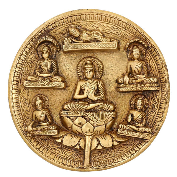 Buddhist Art Décor Religious Gifts Buddha Figurines Brass Metal Wall Hanging 7.5 inch