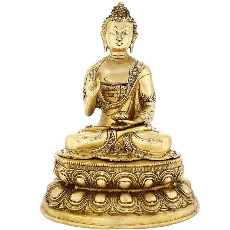 Shalinindia Buddhism Statue Décor Sitting Buddha In Abhaya Mudra Brass 12.5 InchWeight-4.9 Kg