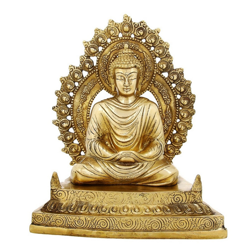 Shalinindia Buddhism Statue Décor Meditation Buddha Sitting Brass 12 InchWeight-5.6 Kg