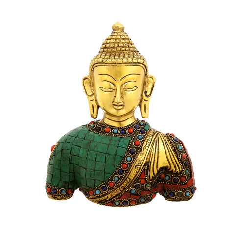 Bust of Buddha Statue Brass Metal Colorful Buddhist Décor 7.5 Inch