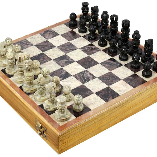 Indian Handmade Stone and Wood Chess Set - Unique Gifts for Kids and Adults