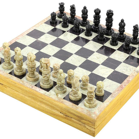 Handmade Indian Chess Set - Play Chess with Soapstone Chess Pieces & Stone and Wood Chess Board - Unique Chess Sets and Boards for Gifts chess001b