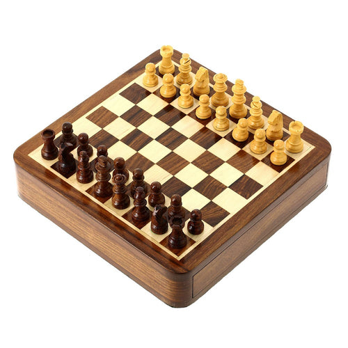 "Handmade Wooden Magnetic Chess Set - Wood Travel Games - 7"" x 7"" - Great Gifts for Kids and Adults"