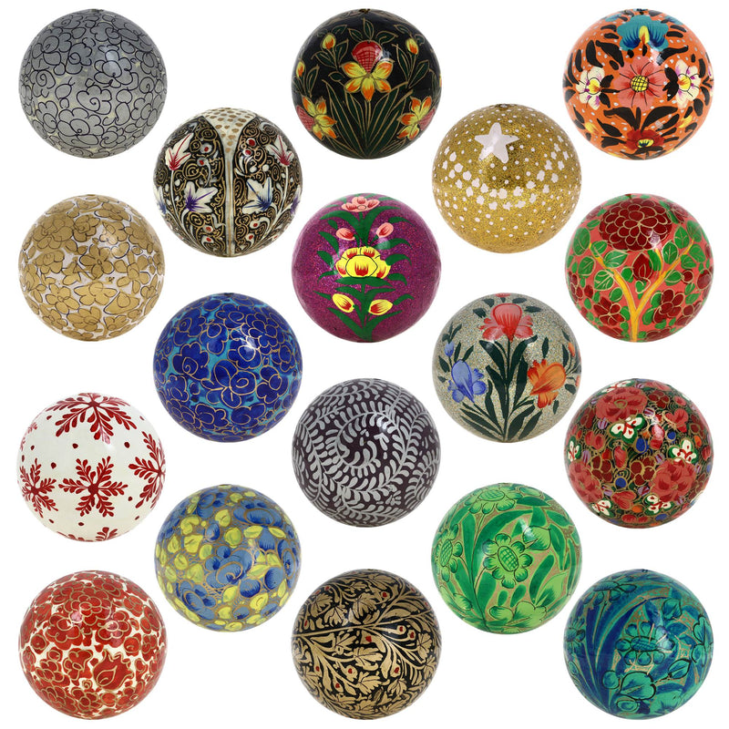 Paper mache colorful hanging balls ornaments for Christmas tree decor