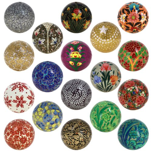 "12 Units of ""Set of 18"" Paper Mache Ball Christmas Decorative Ornaments - Handmade Decoration Gifts Set"