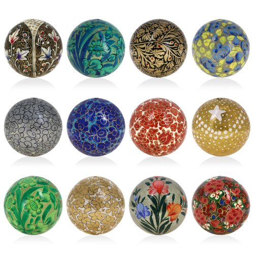 Set of 12 Paper Mache Ball Christmas Ornaments  2015 - Handmade Decoration Xmas Gifts Set