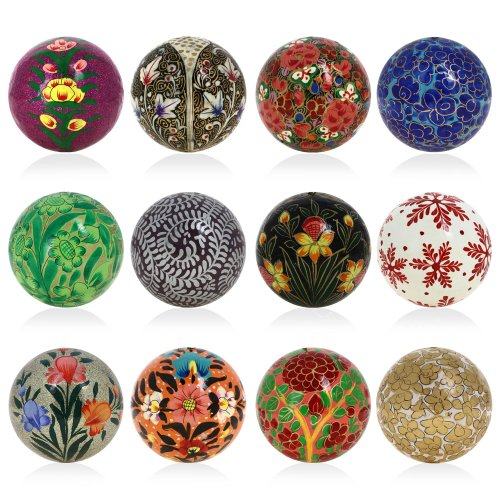 Set of 12 Paper Mache Ball Christmas Tree Decorations Set - Handmade Xmas Decoration Gifts Set