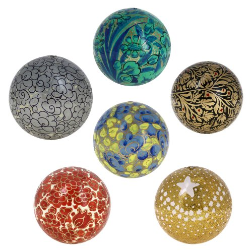 Handmade Paper Mache Christmas Ornament Balls - Set of 6 Handcrafted Indian 3 Inches Christmas Ornaments for Your Tree - Unique Christmas Gifts Idea