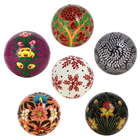 "Handmade Paper Mache Christmas Ornament Balls - Set of 6 Handcrafted Indian 3"" Christmas Ornaments for Your Tree - Unique Christmas Gifts Idea"