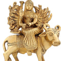 Brass Metal Goddess Ma Nav Durga Sitting On Buffalo 6.5 Inch1.5 Kg