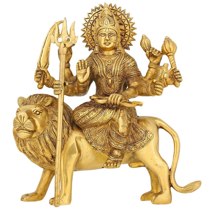 Goddess Ma Durga Statue Brass Sculpture Art Indian Décor Hindu Puja Idol 9.5 Inch
