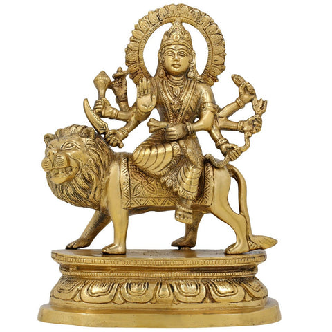 Brass Statue Durga Devi Idol Hindu Goddess for Puja Mandir Temple 7.5 Inch