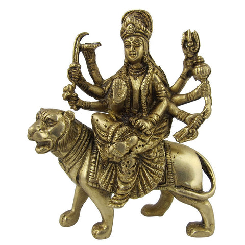 Antique Goddess Durga Metal Brass Sculpture, H: 5 Inches, W: 0.8 Kg