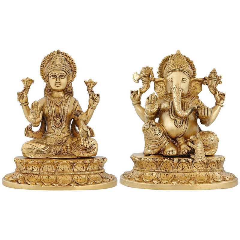 Indian Handmade God And Goddess Ganesh And Lakshmi Hindu Décor Brass Statue 8.75 Inch