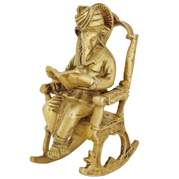 Brass Statue Hindu Art Ganesha God Seated On A Rocking Chair And Reading A Book 7 Inch