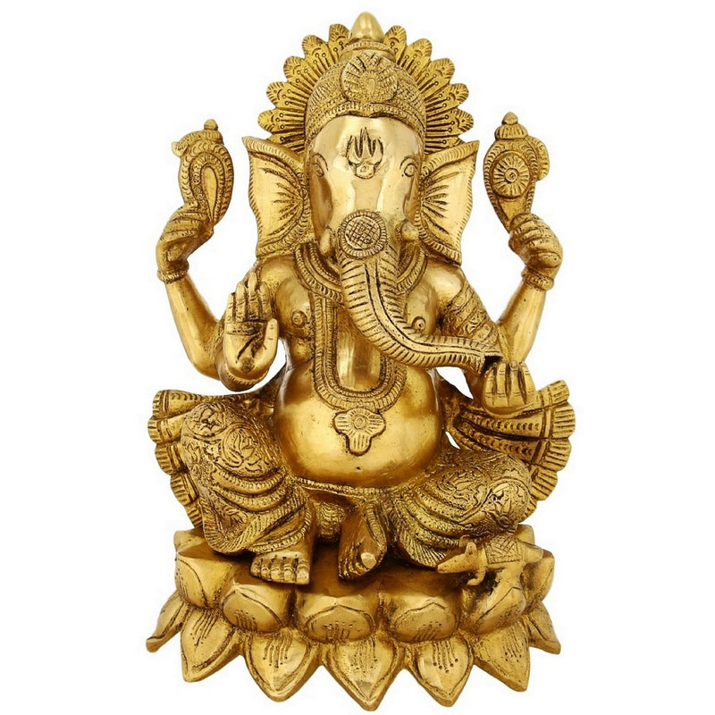 Shalinindia Brass Statue Lord Ganesha Religious Gift For Puja 11 inch LargeWeight-5.5