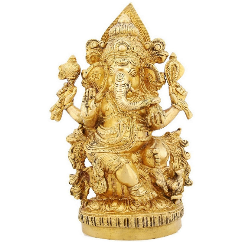 Shalinindia Brass Figurines Of Lord Ganesha Sitting For Puja 9.5 inchWeight-2.9 Kg
