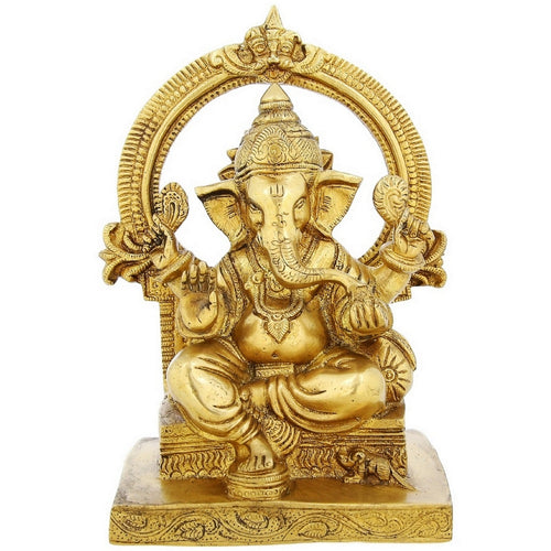 Brass Statue Of Sitting Lord Ganesha Religious Gifts Indian Décor 8.5 inchWeight-2.5 kg