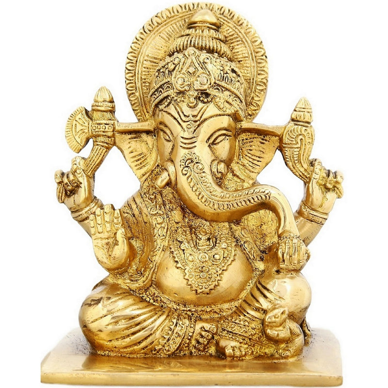 Seated Lord Ganesha Brass Sculptures Religious Gifts For Mom 6 inchWeight-1.9 Kg