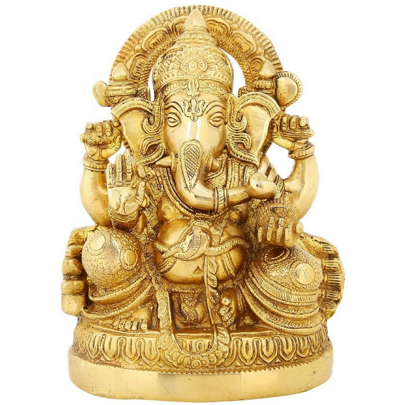 Indian Home Décor Hindu God Ganesha Sitting Brass Statue For Puja 8.5 inch Weight-3.6 Kg
