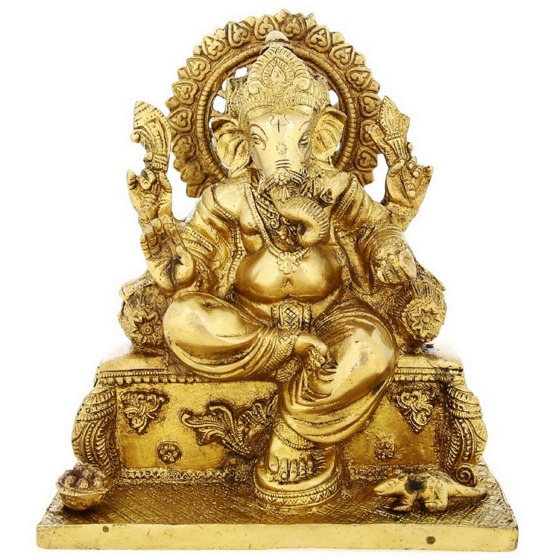 Brass Statue Hindu God Idol Ganesh For Puja At Home 8.5 inch Weight-3.6 Kg