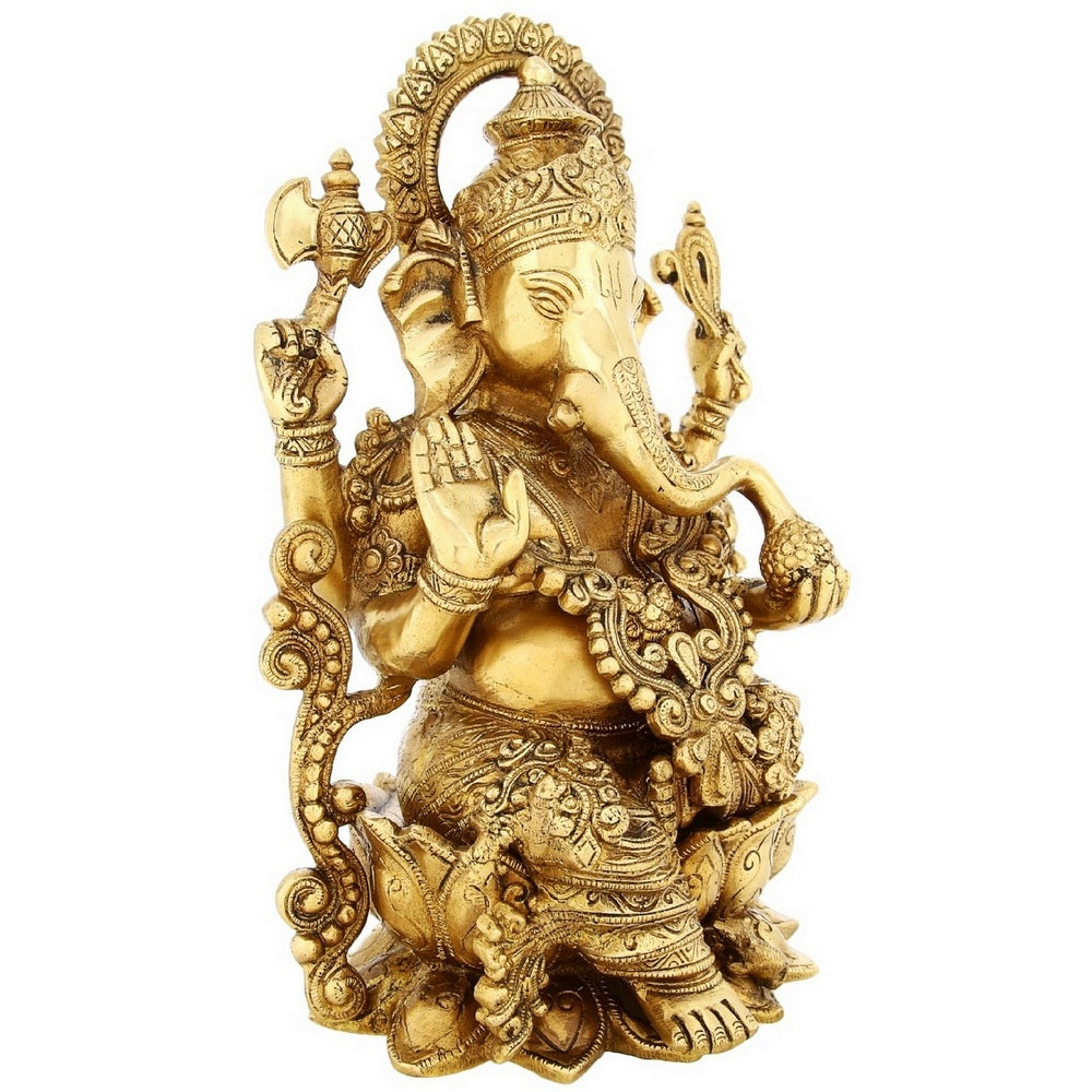 Brass Statue Ganesha Sitting On Lotus Large Indian Gift Items Hinduism  Decor 13 inch Weight-7 8 Kg