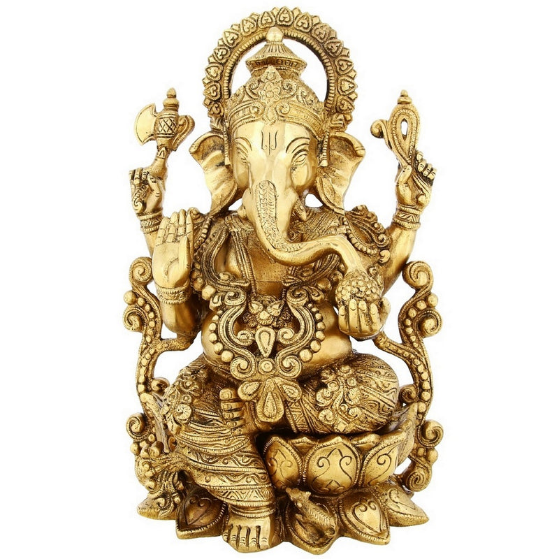 Brass Statue Ganesha Sitting On Lotus Large Indian Gift Items Hinduism Decor 13 inch Weight-7.8 Kg