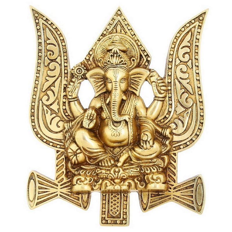 Lord Ganesha Sculpture On Trident And Damroo Wall Décor Religious Gifts 7.5 Inch Weight-1 Kg