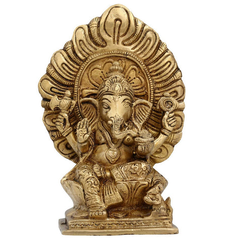 Ganesha Elephant Hindu God Statues Hinduism Deity Brass Sculpture 7.25 Inches