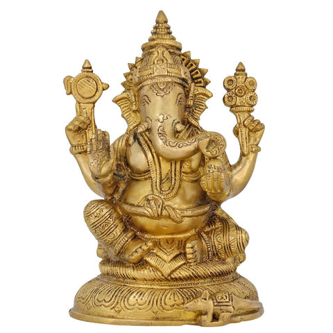 Brass Figurine Ganesha Idol Hindu God Statue for Puja 7.5 Inch