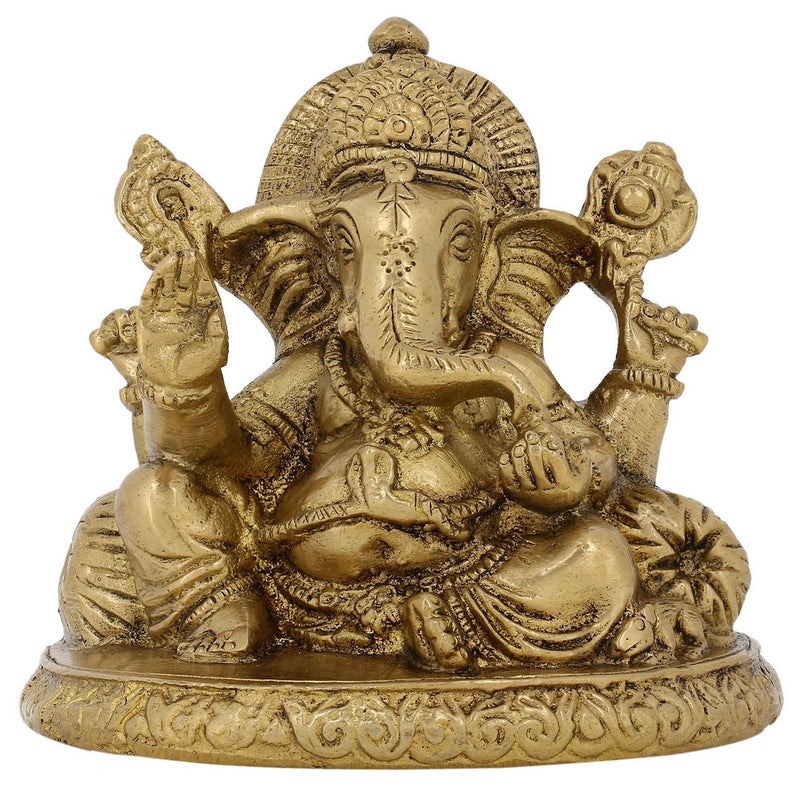Hindu God of Luck Ganesha Figurine Idol for Hindu Mandir at Home 3.5 Inch 700 Grams