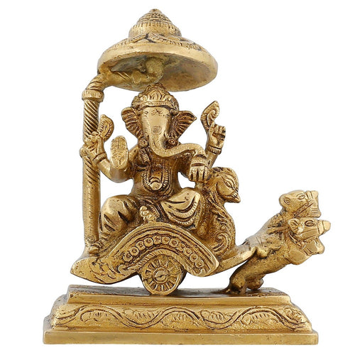 Brass Statue Hindu God Idol Ganesh Riding A Chariot Pulled By Two Mice 4 Inch