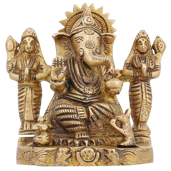 Brass Statue Ganesh God for Hindu Temple Puja Mandir at Home 4.75 Inch
