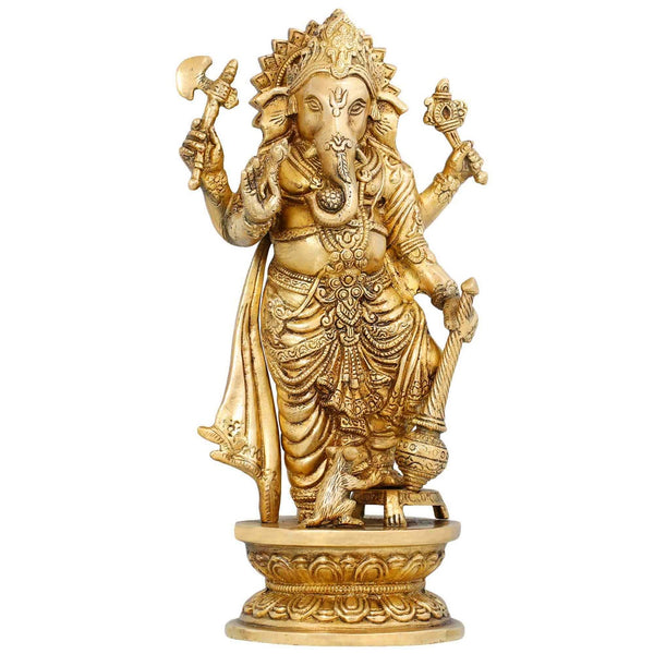 Indian Art Religious Gifts Brass Statue Lord Ganesha Standing Home Décor 12 Inches