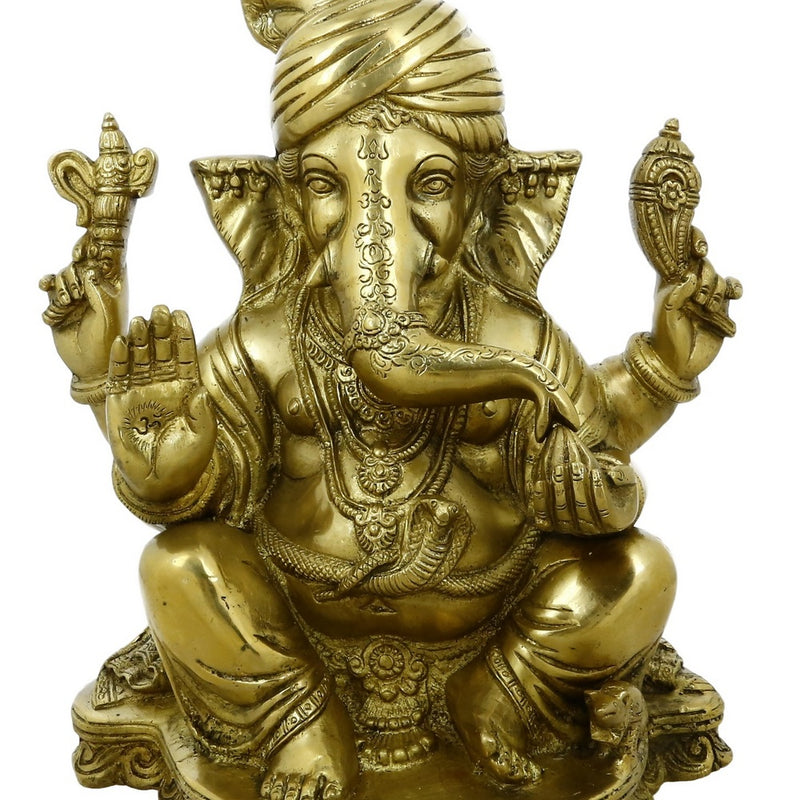 Unique Statue Ganesha in Turban Brass Idol for Hindu Home Décor 11 Inches Religious Gifts