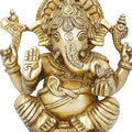 Brass Idol Ganesha Statue for Hindu Puja Mandir at Home 6 x 5 inches God Of Luck