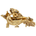 Brass Statue Ganesha Sitting on a Peacock Chariot Hindu Idol for Home Decor 4.5 Inches